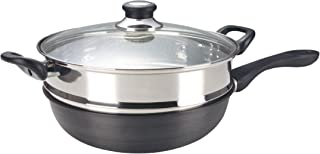 ASD IH Hard Anodised Induction Skillet Wok with Stainless Steel Steamer with Glass Cover, 30cm