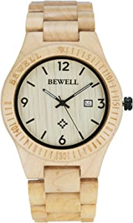 Bewell W086B Analog Wood Watches for Men with Date, Beige Lightweight Engraved Casual Luminous Hands Quartz Wristwatch