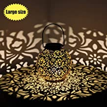 Solar Lanterns Outdoor Hanging Decorative Solar Lights Outdoor for Garden Patio Courtyard Lawn and Tabletop with Hollowed-Out Design. Large Solar Lantern 7 inch.
