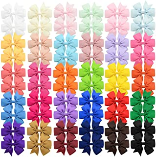 60Pcs 3 inch Solid Color Grosgrain Ribbon Baby Girls Hair Bows Alligator Clips Hair Accessories for Infants Toddlers Kids ...