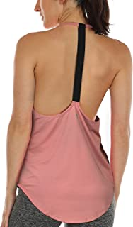 icyzone Workout Tank Tops for Women - Athletic Yoga Tops, T-Back Running Tank Top