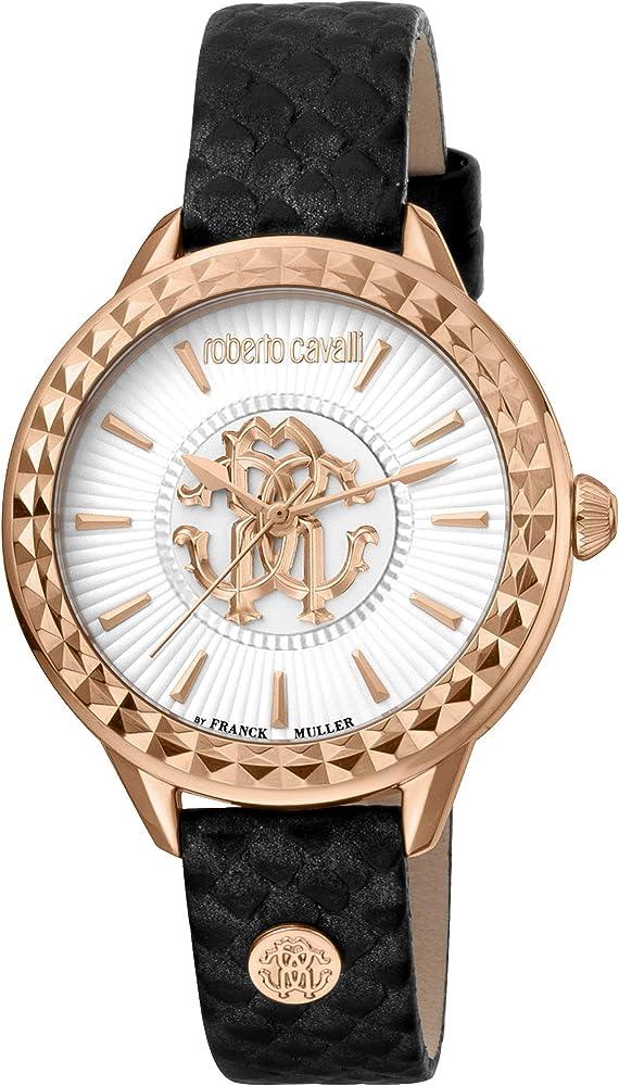 Roberto cavalli, orologio elegante per donna,cassa in acciaio inossidabile e cinturino in pelle RV1L125L0041
