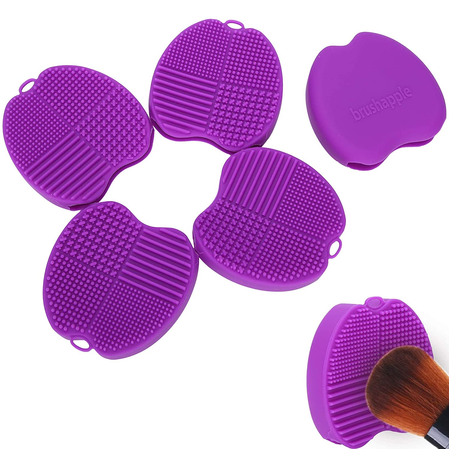 5pcs Makeup Spring new work one after another Brush Cleaner Dark Scrubber Pad Purple Ranking TOP12 Cl Portable