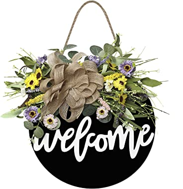 Welcome Sign for Front Door Wooden Hanging Sign Daisy and Lavender Spring and Summer Wreath for Front Porch Outdoor Restauran