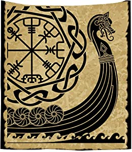 Viking Tapestry Wall Hanging, Ancient Scandinavian Pattern and Norse Runes Tapestry Warship of the Vikings Tapestry for Bedroom Living Room Dorm Home Decoration 51W x 60L Inch