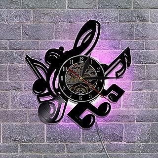 ビニールレコードの壁掛け時計、サイレントクォーツムーブメント クリエイティブギター 常夜灯の掛け時計 家の壁の装飾 リモコン付き,B