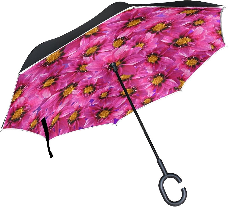 Double Layer Ingreened Dahlia Dahlias Blossom Bloom Flower Flower Autumn Umbrellas Reverse Folding Umbrella Windproof Uv Predection Big Straight Umbrella for Car Rain Outdoor with CShaped Handle