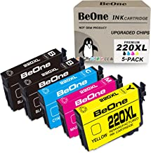 BeOne Remanufactured Ink Cartridge Replacement for Epson 220 XL 220XL T220 T220XL 5-Pack to Use with Workforce WF-2750 WF-...