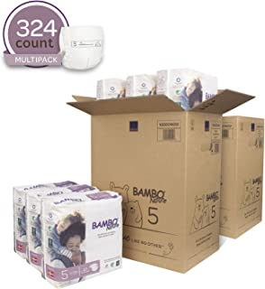 Bambo Nature Eco Friendly Premium Baby Diapers for Sensitive Skin, Size 5 (24-55 lbs), 324 Count (2 Cases of 162)
