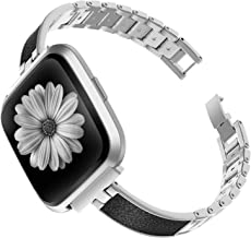 TOYOUTHS Stylish Bracelet Compatible with Fitbit Versa/Versa 2 Bands for Women Slim Strap Replacement Wristbands for Versa Lite Special Edition Stainless Steel Metal+Leather Bangle Accessories Silver