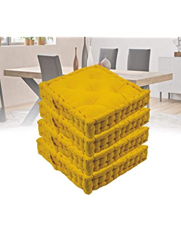 ARANCIO Set 4 Cuscini Sedie Cucina e giardino cm 40x40 x 9 cm a doppia imbottitura Extra per seduta comoda e confortevole antidecubito
