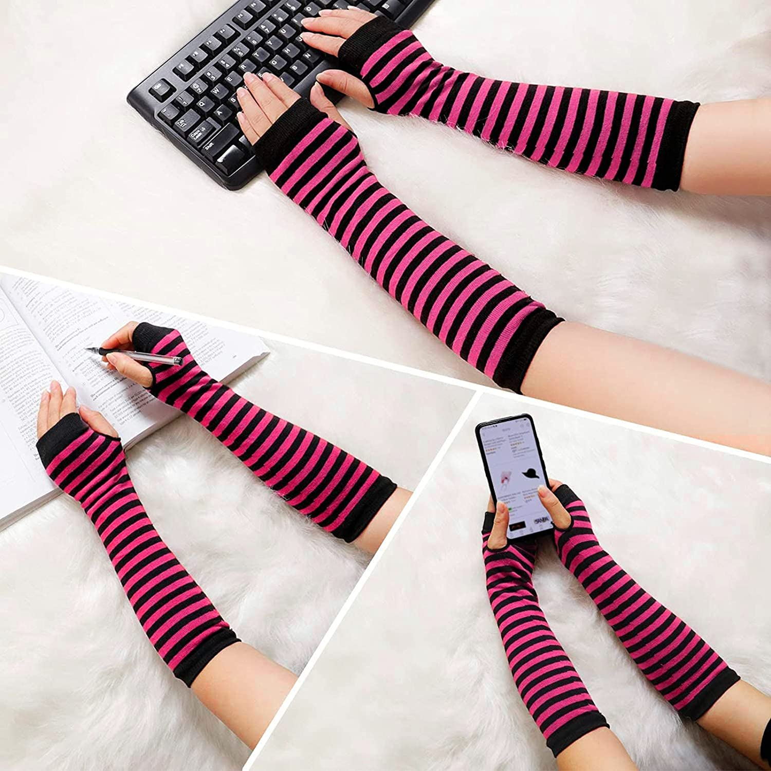 Fingerless Gloves Long for Women Stripes Long Arm Warmer Knitted Punk Gothic Rock Comfy Thumbhole Glove Mittens