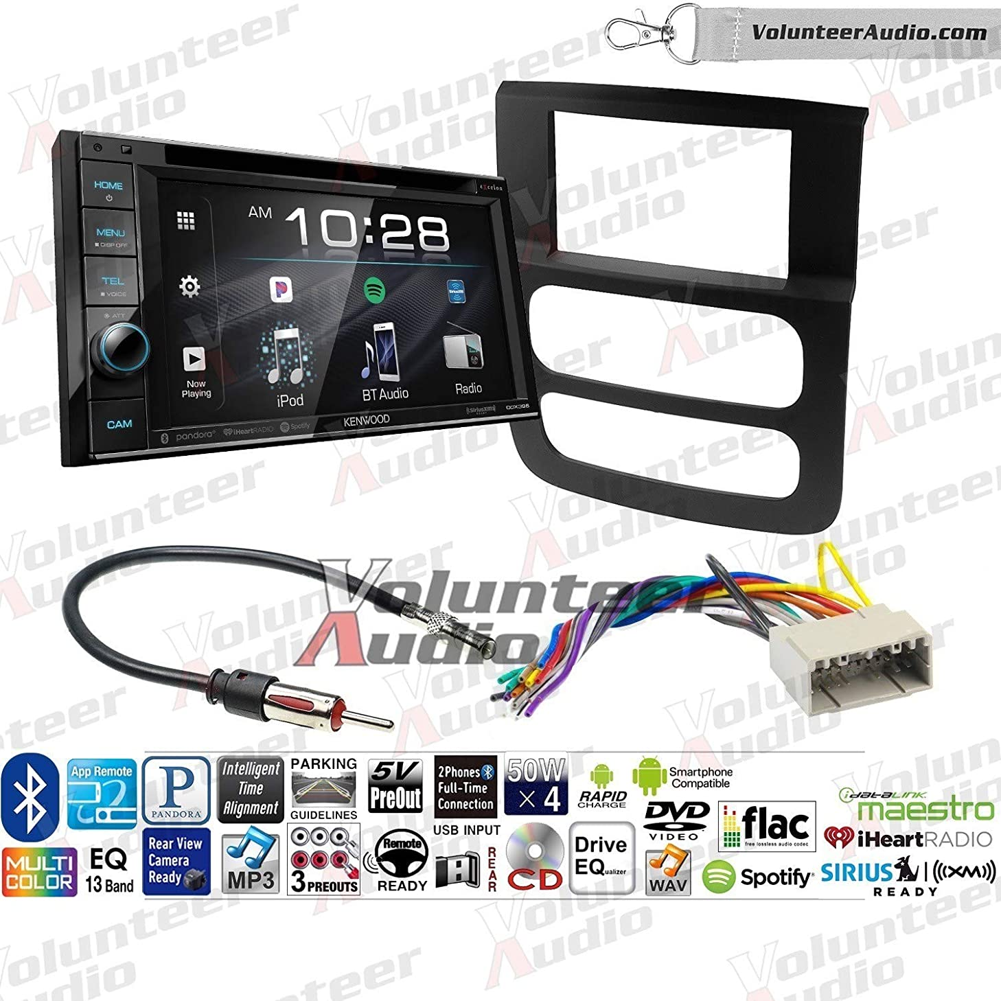 Kenwood Excelon DDX396 Double Din Radio Install Kit With Sirius XM Ready, CD Player, USB/AUX Fits 2002-2005 Ram