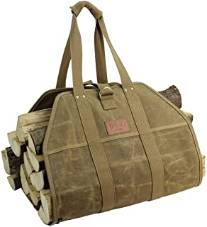 INNO STAGE Large Log Carrier,Waxed Canvas Log Tote Bag, Indoor Fireplace Firewood Totes Holders, Round Woodpile Rack Fire ...