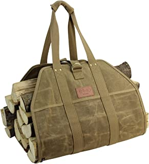 INNO STAGE Large Log Carrier,Waxed Canvas Log Tote Bag, Indoor Fireplace Firewood Totes Holders, Round Woodpile Rack Fire Wood Carriers, Carrying for Tubular Stand by Hearth Stove Tools Set Basket