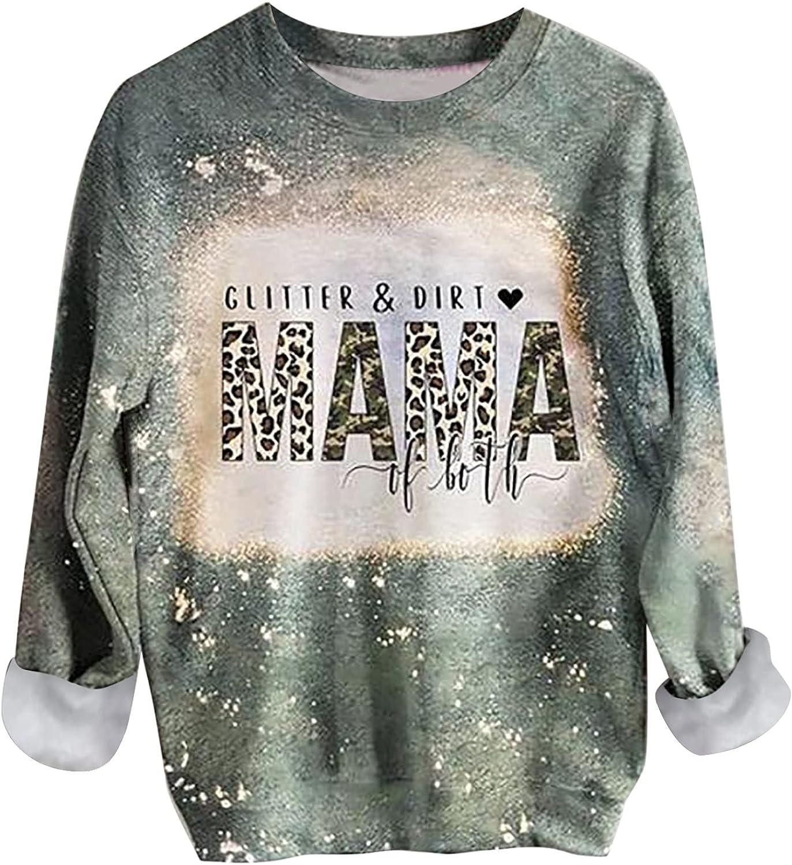 Women Tops Mama Shirts Long Sleeve Crewneck Pullover Sweatshirt Retro Graphic Shirt Blouse Y2K Streetwear Fall Clothes