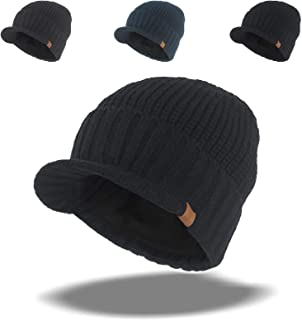 Men's Winter Wool Blend Visor Brim Beanie with Bill Knit Baseball Cap Skull Hat Black Gray Navy Blue