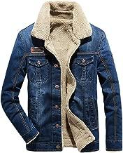 Landscap Men's Winter Denim&Leather Biker Motorcycle Jacket Zipper&Button Coat Retro Fleece Lined Outerwear