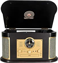 Record Player,Phonographs DLITIME 3-Speed Vinyl Turntable Built-in 2 x9W Bluetooth Speakers, Headphone Jack/Aux In/RCA/LED...
