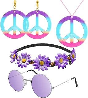 R HORSE 5 Pcs Hippie Costume Set Peace Sign Necklace Earrings Flower Headband Hippie Sunglasses 60s Purple Hippie Accessories for Women