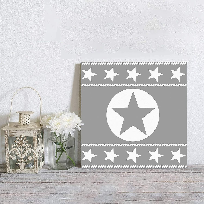 MuswannaA Canvas Wall Raleigh Mall Art Western Texas Gray on Star Retro National uniform free shipping Backg