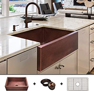 HEAVY-GAUGE (12-Gauge) Luxury 30-Inch Modern Copper Farmhouse Sink (48.2 LBS Pure Copper), Apron Front, Single Bowl, Antique Copper Finish, Grid and Flange Included, FSW1104 by Fossil Blu