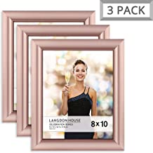 Langdon House 8x10 Picture Frame (3 Pack, Rose Gold), Rose Gold Photo Frame 8 x 10, Wall Mount or Table Top, Set of 3 Celebration Collection