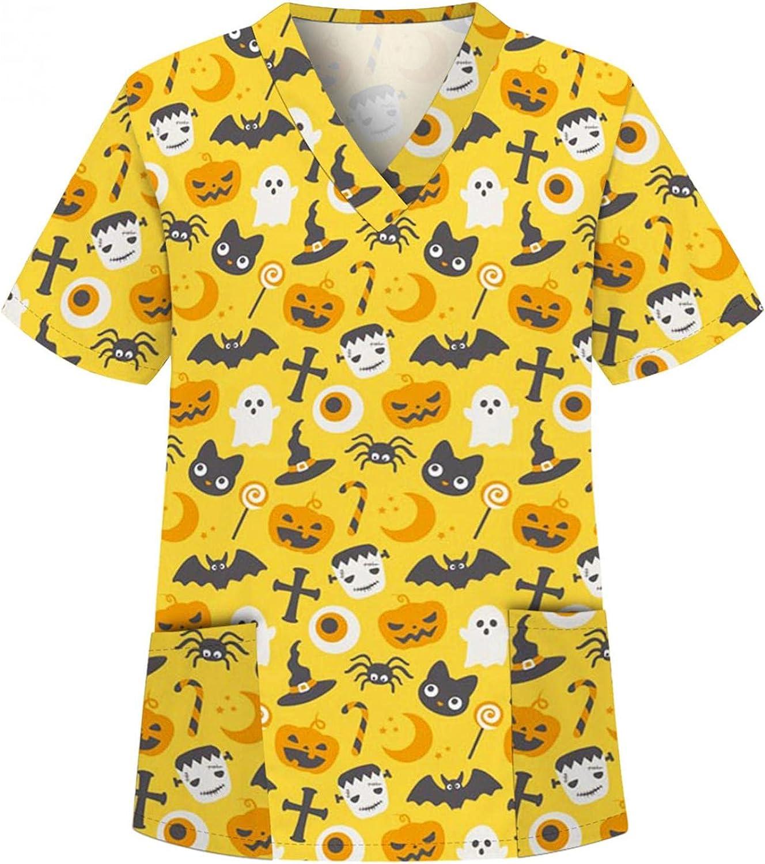 MASZONE Scrub_Top for Womens Halloween Pumpkin Ghost Nurses_Tunic Short Sleeve Work Uniform T-Shirts V-Neck Workwear Top