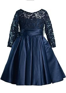 Navy Blue Lace Satin Long Sleeves Wedding Flower Girl Dress Junior Bridesmaid Dress