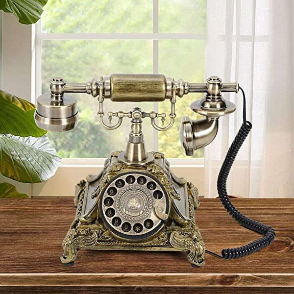 NICECHOOSE Retro Rotary Phone Vintage Rotary Dial Telephone Old Fashioned Landline Phones For Home Office Hotel Decor