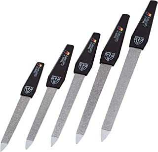 3 Swords Germany - brand quality SAPPHIRE NAIL FILE set (5 pcs.) with 3-way nail buffer (1 pc.), manicure pedicure finger & toe nail care - Made in Germany (671)