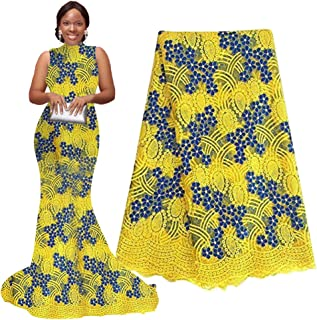pqdaysun 5 Yards African Net Lace Fabrics Nigerian French Fabric Embroidery and Rhinestones Guipure Cord Lace (yellow)