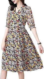 Women's Dresses Summer Chiffon Casual Short Sleeve Floral Print Dress غير رسمي (Color : Floral, Size : 3XL)