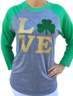 Women's St. Patrick's Day Glitter Love Shamrock 3/4 Sleeve Tshirt (Runs a Size Big)
