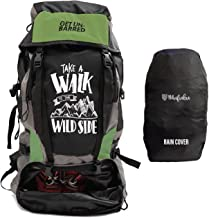 Mufubu Presents Get Unbarred 55 LTR Rucksack for Trekking, Hiking with Shoe Compartment and Waterproof Rain Cover (Black/Grassy)