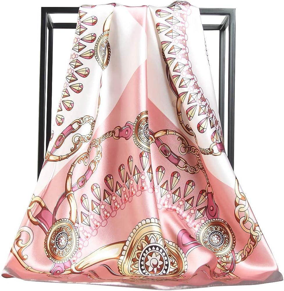 MORSTYLE Satin Silk Feeling Women's Large Square Scarf 35