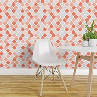 Spoonflower Pre-Pasted Removable Wallpaper, Coral Scales Mermaid Pink White Scallops Print, Water-Activated Wallpaper, 12in x 24in Test Swatch