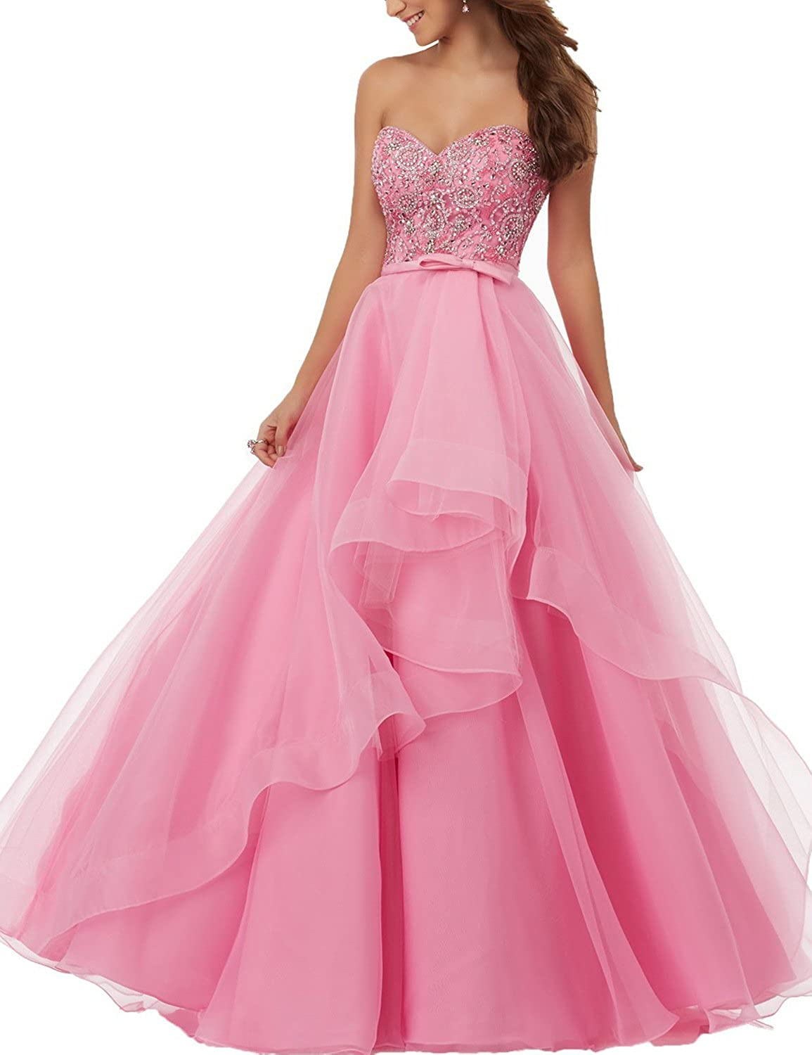 Yiweir Women's A Line Prom Dresses 2018 Long Tulle Satin Beads Formal Gown P153