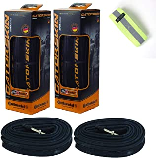 Bike A Mile Continental GatorSkin Bike Tires Set of 2 - with Continental Inner Tube Presta Valve Set of 2 - with a Reflect...
