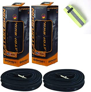 Bike A Mile Continental GatorSkin Bike Tires Set of 2 - with Continental Inner Tube Presta Valve Set of 2 - with a Reflective Safety Armband