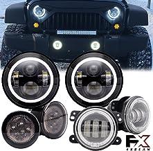 "4XBEAM 7""Inch Halo LED Headlights W/ 4"" Fog Lights /Smoke Lens Yellow LED Turn.."