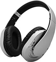 JUNWER Wireless Bluetooth Headphones with Built-in Mic Audiophile Headset, Noise Cancelling Headphones Over Ear with Metal Band Foldable, Super Comfort Ear Muffs, Portable Headphones - Silver