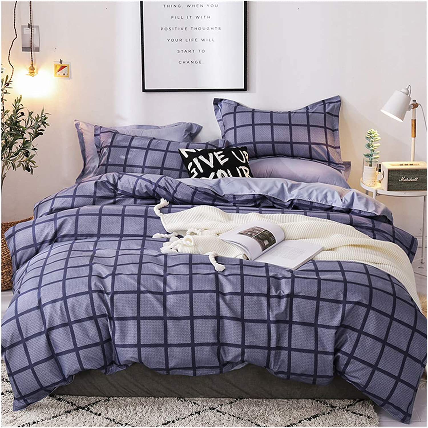 Grid Plaid Bedding Sets Queen for Boys Teens Girls Duvet Cover Sets Checkered Geometric Simple Style 3 Pieces -1 Duvet Cover with Zipper Closure 2 Pillow Sham