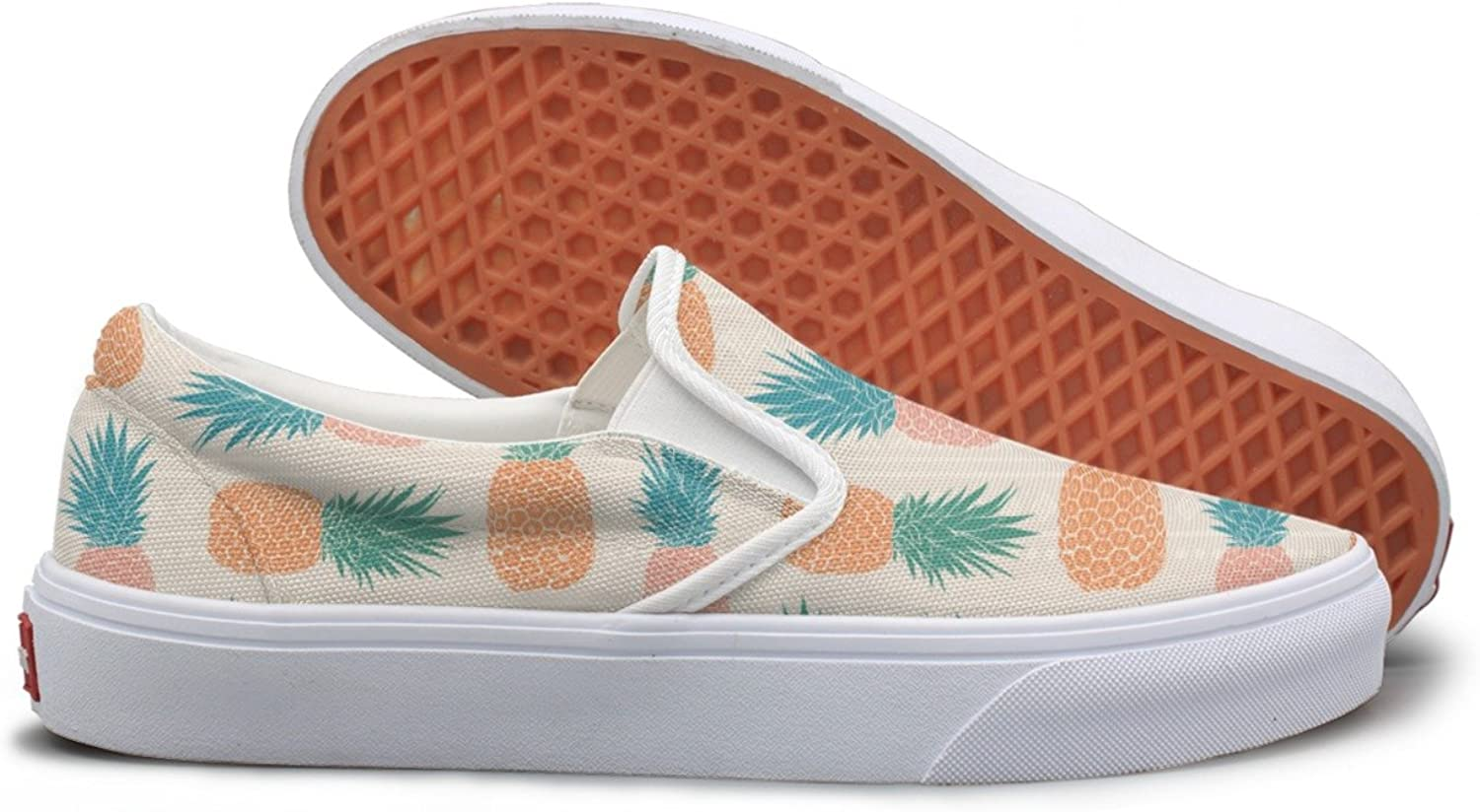 Lalige Folk Tribal Vintage Pineapples Women Comfortable Canvas Slip-ONS Walking shoes