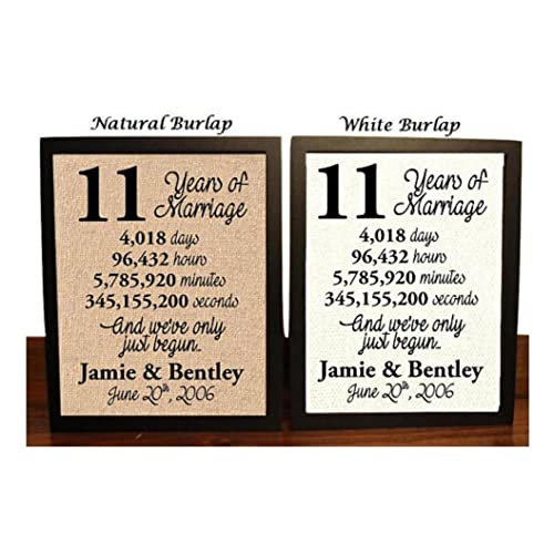 11 Year Anniversary Burlap Print | 11th Anniversary | 11th Anniversary Gift | 11 Years Together