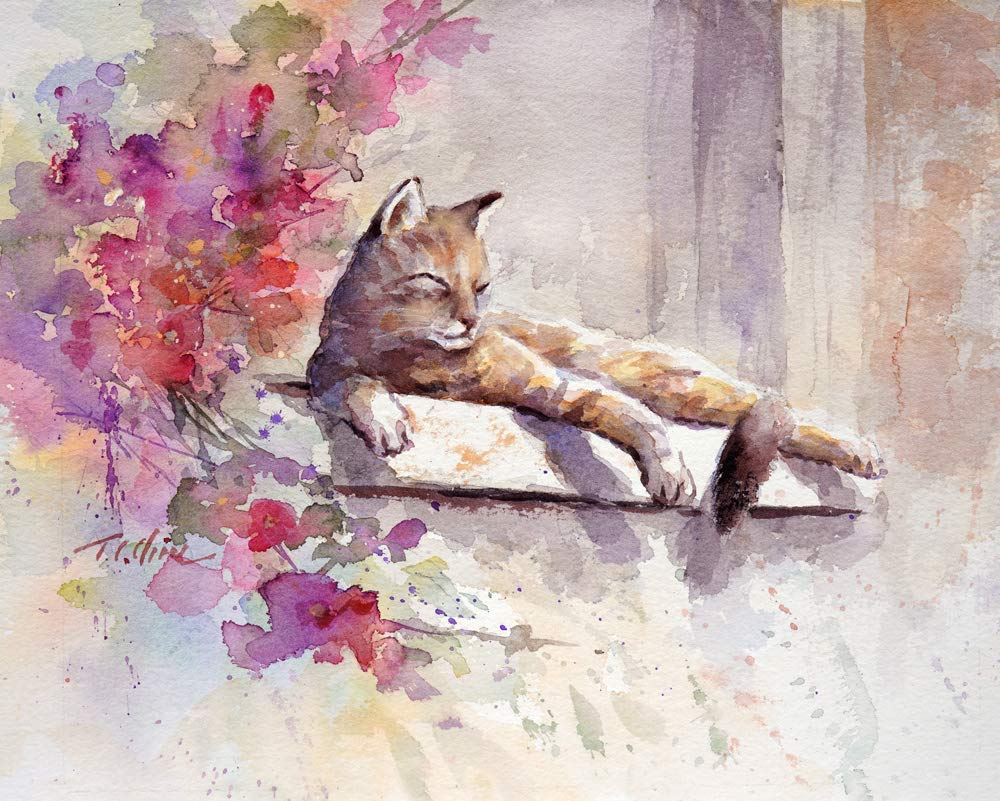 Cat Sunny Gorgeous Day Fresno Mall Art Print of Lo Painting for Gift Watercolor -
