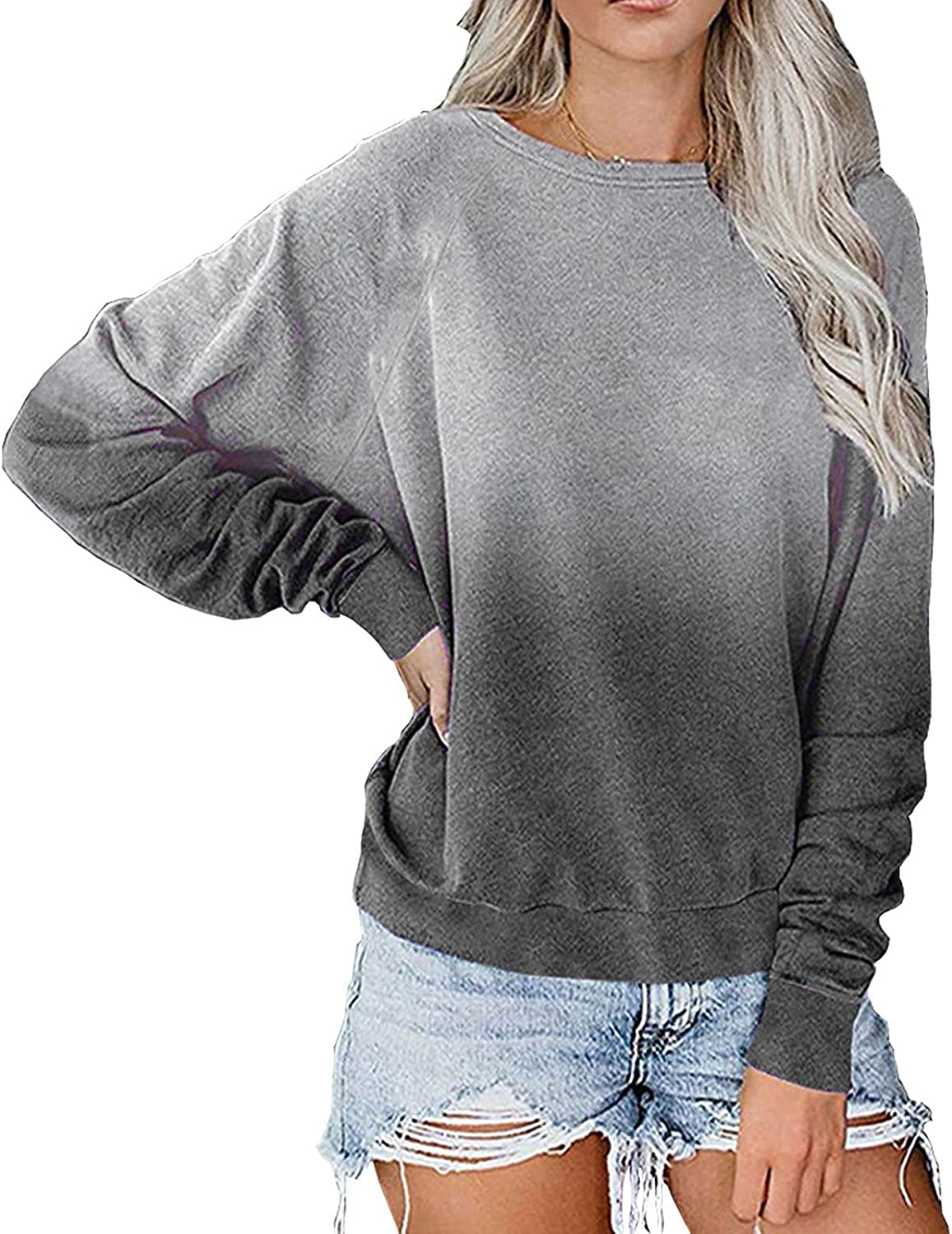 Women's Gradient Print Sweatshirt Fashion Long Sleeve O-Neck Loose Casual Pullover Shirt Tops Sports Outdoor Blouse