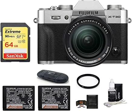 $1329 » FUJIFILM X-T30 Mirrorless Digital Camera (with XF 18-55mm Lens Spare Battery Bundle, Silver)