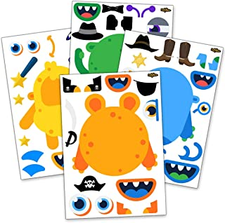 24 Make A Monster Stickers For Kids - Monster Themed Birthday Party Favors & Supplies - Fun DIY Craft Project For Children 3+ - Let Your Kids Get Creative & Design Favorite Monster Stickers