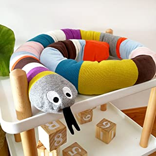 HILTOW Snake Shaped Baby Crib Bumper, 71 inch Crib Bumper,Crib Pillow,Junior Bed Sleep Bumper, Multicolored, Your Child's Multi-Purpose Friend and Protector